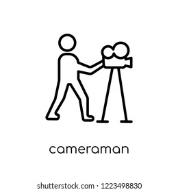 cameraman icon. Trendy modern flat linear vector cameraman icon on white background from thin line Cinema collection, editable outline stroke vector illustration