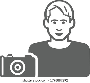 Cameraman, photographer gray color icon