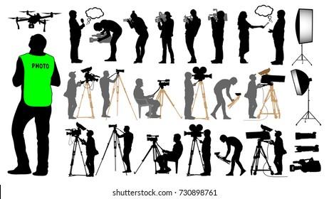 Cameraman, photographer, man and drone, set camera operator on a tripod, photo video equipment, silhouette