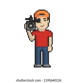 Cameraman pixel art on white background. Vector illustration.