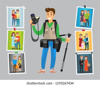 Cameraman take orders on birthdays and parties, family photo sessions. Samples of works hanging on wall vector. Photographer with digital camera and tripod