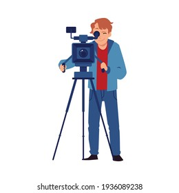 Cameraman or video operator shooting a video, flat vector illustration isolated.