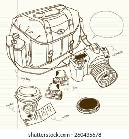 cameras and bags in still life