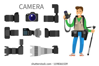 Cameras with lens, photographer and high resolution action photocameras vector isolated. Gear with flash and zoom function, photojournalist and tripod