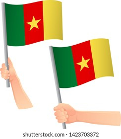 Cameroon flag in hand. Patriotic background. National flag of Cameroon vector illustration