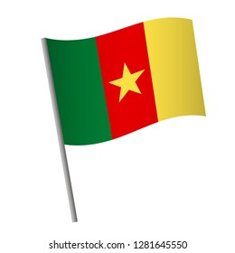 Cameroon flag icon. National flag of Cameroon on a pole vector illustration.
