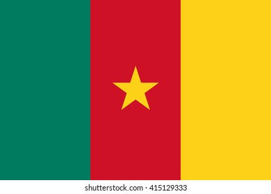Cameroon flag, official colors and proportion correctly. National Cameroon flag. Flat vector illustration. EPS10.