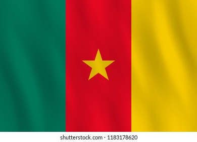 Cameroon flag with waving effect, official proportion.