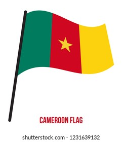 Cameroon Flag Waving Vector Illustration on White Background. Cameroon National Flag.