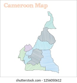 Cameroon hand-drawn map. Colourful sketchy country outline. Delightful Cameroon map with provinces. Vector illustration.