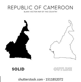 Cameroon map. Blank vector map of the Country. Borders of Cameroon for your infographic. Vector illustration.