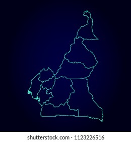 Cameroon map: blue glitter outline with sparkling stars on dark background. Detailed map of Cameroon. Vector illustration.