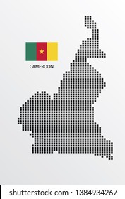 Cameroon map design square with flag Cameroon.