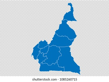 cameroon map - High detailed blue map with counties/regions/states of cameroon. cameroon map isolated on transparent background.