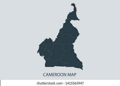 Cameroon map on gray background vector, Cameroon Map Outline Shape Gray on White Vector Illustration, Map with name. High detailed Gray illustration map Cameroon. Symbol for your web site design logo.