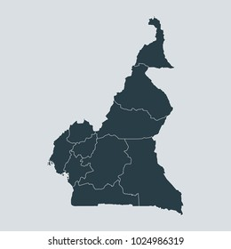 Cameroon map on white background vector, Cameroon Map Outline Shape Gray on White Vector Illustration, High detailed Gray illustration map Cameroon.