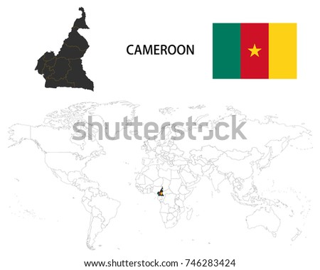 Cameroon Map On World Map Flag Stock Vector (Royalty Free ...