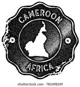 Cameroon map vintage stamp. Retro style handmade label, badge or element for travel souvenirs. Black rubber stamp with country map silhouette. Vector illustration.