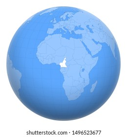Cameroon on the globe. Earth centered at the location of the Republic of Cameroon. Map of Cameroon. Includes layer with capital cities.