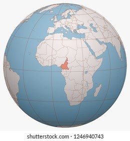 Cameroon on the globe. Earth hemisphere centered at the location of the Republic of Cameroon. Cameroon map.