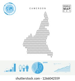 Cameroon People Icon Map. People Crowd in the Shape of a Map of Cameroon. Stylized Silhouette of Cameroon. Population Growth and Aging Infographic Elements. Vector Illustration Isolated on White.
