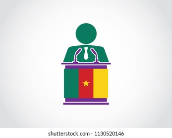 Cameroon Podium Businessman Speech