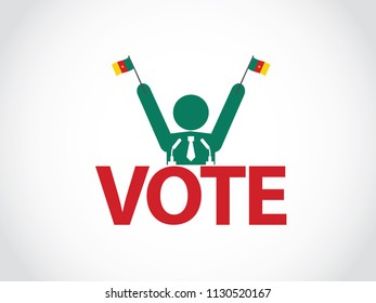 Cameroon Podium Politician Celebrate Speech Election