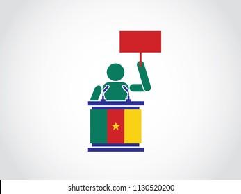 Cameroon Podium Protest Speech