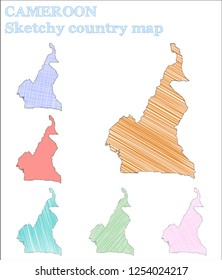 Cameroon sketchy country. Decent hand drawn country. Delicate childish style Cameroon vector illustration.