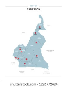 Cameroon vector map. Editable template with regions, cities, red pins and blue surface on white background.