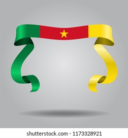 Cameroon wavy flag abstract background. Vector illustration.