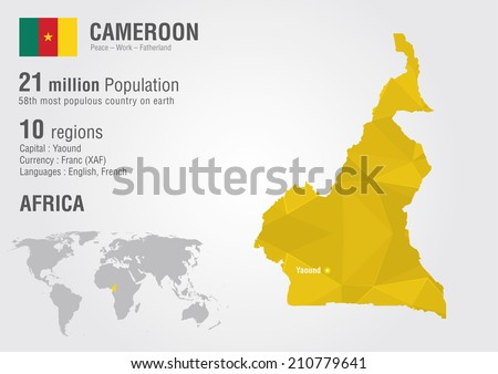 Cameroon World Map Pixel Diamond Texture Stock Vector (Royalty Free ...