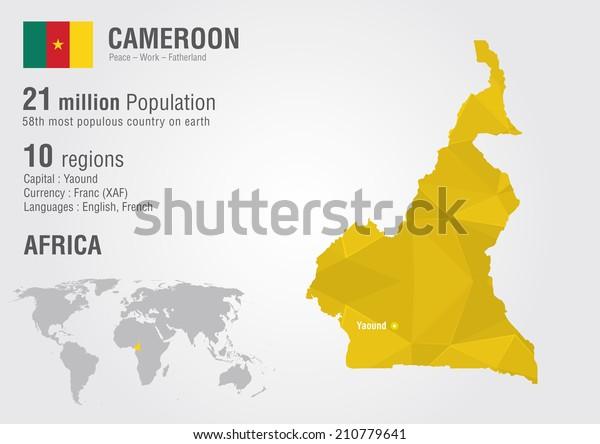 Cameroon World Map Pixel Diamond Texture Stock Vector ...