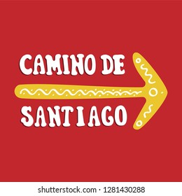 Camino de Santiago. Vector lettering. Yellow arrow with ornament
