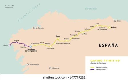 Camino Primitivo map. Original route from Oviedo. Camino De Santiago or The Way of St.James. Ancient pilgrimage path to the Santiago de Compostella on the north of Spain.