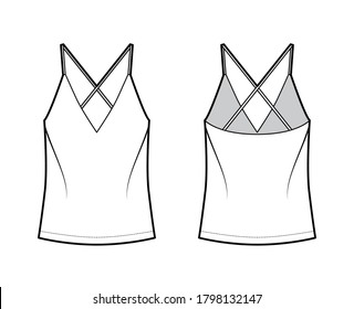 Camisole technical fashion illustration with flattering V-neck, straps, relaxed fit, tunic length. Flat outwear tank apparel template front, back, white color. Women, men unisex shirt top CAD mockup