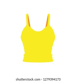 Camisole yellow graphic jacket vector icon. Mama flat dress pretty body front view