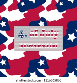 Camo background in national USA colors - white, red and navy blue and table with inscription 4th of July, Independence Day on a separate layer. Seamless repeat camouflage pattern with stars