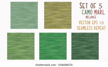 Camo Green Marl Heather Texture Background. Faux Cotton Fabric with Vertical T Shirt Style. Vector Pattern Design. Khaki Melange Triblend for Textile Effect. Vector EPS 10 Tile Repeat SET of 5