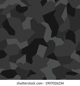 Camo seamless geometric pattern. Abstract background from black and white figures. Print on fabric for sportswear, textiles. Vector illustration