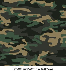 Camo texture seamless pattern. Abstract modern repeating military camouflage ornament for fabric and fashion print. Vector background.
