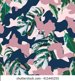 Camo and tropical marble leaves seamless background