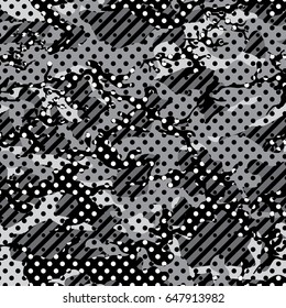 camoflag seamless pattern dot design monochrome