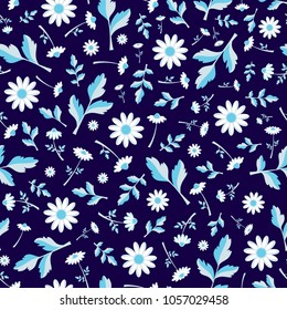 Camomile flower seamless vector pattern in cold colours on dark background. Abstract camomile illustration in flat style.