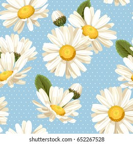 Camomile and polka dot seamless background