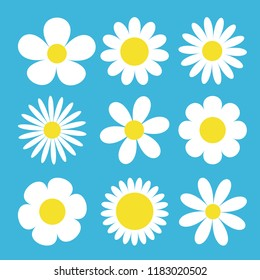 Camomile set. White daisy chamomile icon. Cute round flower plant collection. Love card symbol. Growing concept. Flat design. Blue background. Isolated. Vector illustration