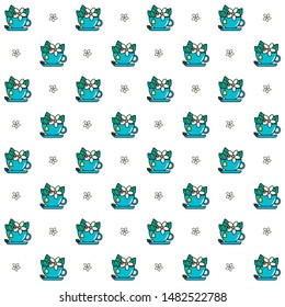 Camomile tea seamless vector pattern. Camomile flowers and leaves in a blue tea cup. Floral background.