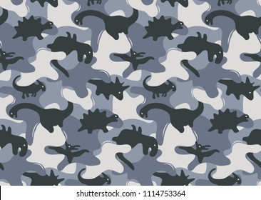Camouflage army seamless pattern design with dinosaurs vector illustration.