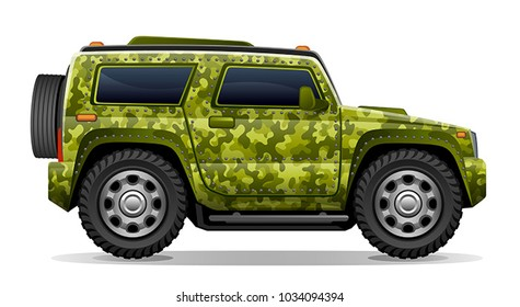 Camouflage car on a white background