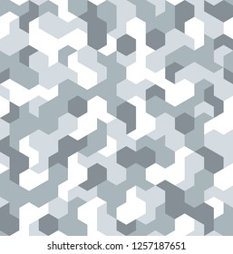 Camouflage geometric hexagonal seamless pattern texture. Abstract modern camo military fabric and fashion ornament background. Vector illustration.